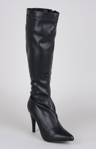 Breckelles Brandi-11 Knee High Pointy Boot - Black PU