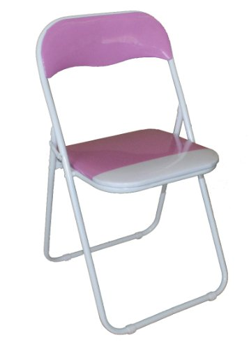 Pink and White Padded Folding Chair - Great for, Office, Desk, Poker, Spare / Extra Seating