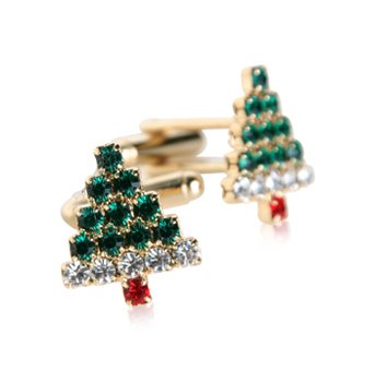 Crystal Christmas Cufflinks with Gift Box