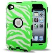 Radium Zebra Texture Robot Series (Plastic + Silicone) Combination Case for iPod touch 4 (Green)