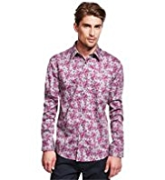 Autograph Luxury Pure Cotton Painted Floral Shirt