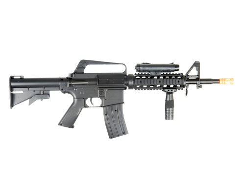 M16-A4 Airsoft Rifle with LED illuminator, laser sight & adjustable gun stock (290 Fps Airsoft Gun compare prices)