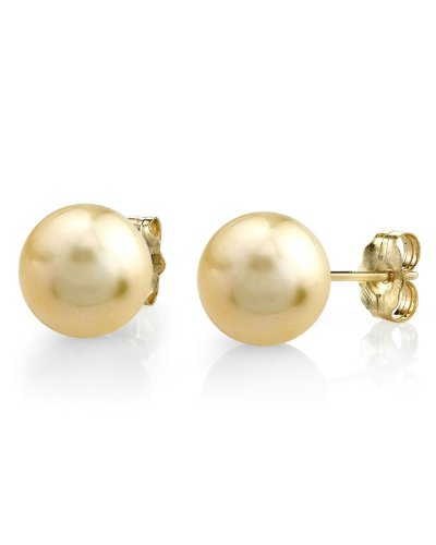 9-10mm Golden South Sea Pearl Stud Earrings in 14K Gold - AAAA Quality