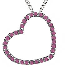 Created Pink Sapphire Heart Pendant in Silver