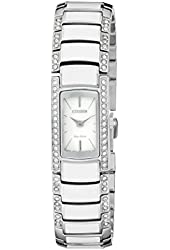 Citizen Women's EG2950-51A Normandie Silver-Tone Watch with White Resin and Crystal Accents