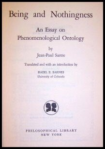 Being and Nothingness : An Essay on Phenomenological Ontology