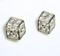 Cubic Zirconia CZ Dice Earrings
