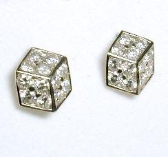 Cubic Zirconia CZ Dice Earrings