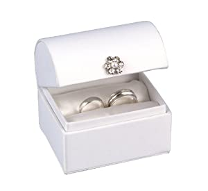 Hortense B. Hewitt White Satin Treasure Chest Ring Box