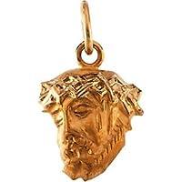 14K Yellow Gold Head Of Jesus Crown Pendant
