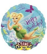 "Tinkerbell Happy Birthday Sing-a-tune 28"" Mylar Balloon - 1"