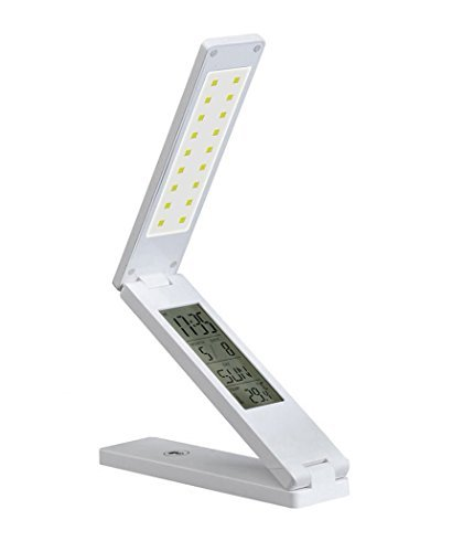 Gearmax® USB ricaricabile pieghevole LED Lampade da Libro Della Luce Della Lampada con il Calendario Sveglia e Temperatura