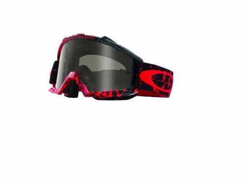 Oakley Proven MX Tagline Goggles with Red/Black/Sand Print Frame (Black Frame/Dark Gray Lens)
