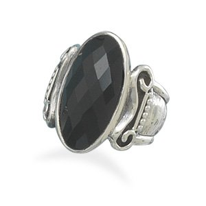 Sterling Silver Faceted Oval Black Onyx Ring / Size 7