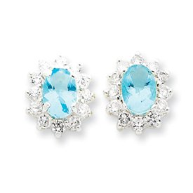 Sterling Silver Light Blue and Clear CZ Post Earrings
