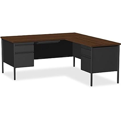 Lorell Single Left Pedestal Desk, Black Walnut, 66 by 30 by 29-1/2-Inch
