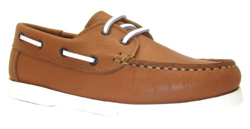 Petasil Boy's Sail G Camel Brown Velcro Lace Up Leather Boat Shoes