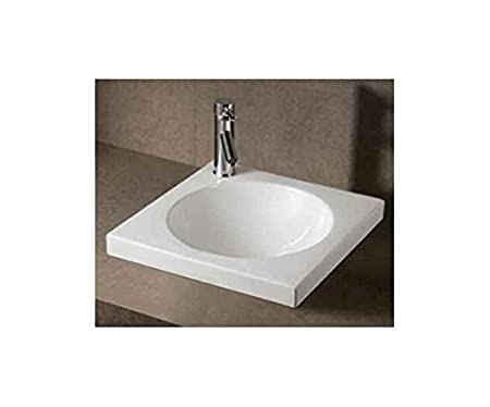 Isabella Square Semi-Recessed Bathroom Sink with Center Drain