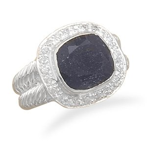 Sterling Silver Rough-Cut Sapphire and Clear CZ Ring / Size 9