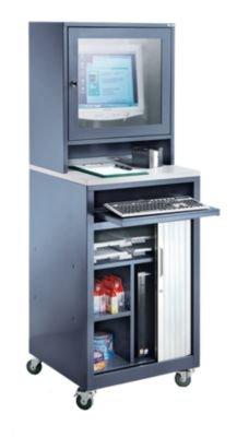 QUIPO Armoire à rideau pour ordinateur - pour écrans max. 20″, mobile gris bleu - armoire informatique armoire pour ordinateur armoire à rideaux armoires informatiques armoires pour ordinateur armoires à rideaux meubles i