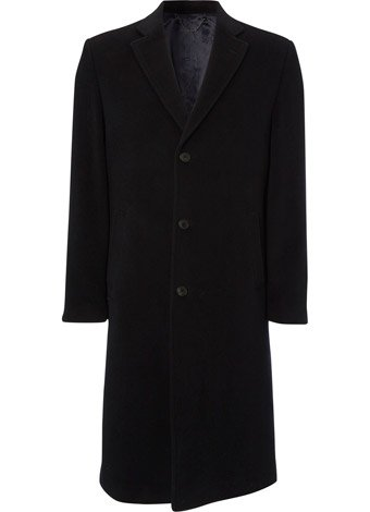 Austin Reed Navy Wool and Cashmere Long Coat REGULAR MENS 36