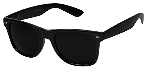 Basik Eyewear - Super Extremely Dark Black Retro Wayfarer 80's Sunglasses 1 or 2 Pairs (Glossy Black Frame, Dark Black) (Womens Sun Shades compare prices)