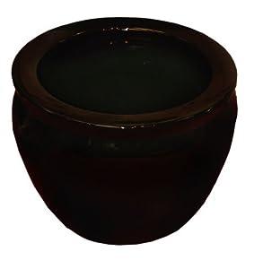 """Pure Black Porcelain Fishbowl / Jardiniere / Planter / pot , 14"""""""