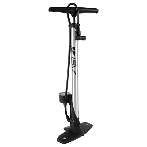 BV Bicycle Ergonomic Bike Floor Pump with Gauge & Smart Valve Head, 160 psi, Automatically Reversible Presta and Schrader (silver)