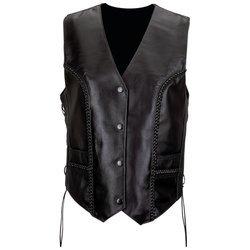 Diamond Plate Ladies Genuine Leather Vest 2XL