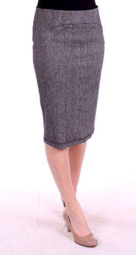 Stretch Linen Pencil Skirt in Black by Karen Kane (10) Image