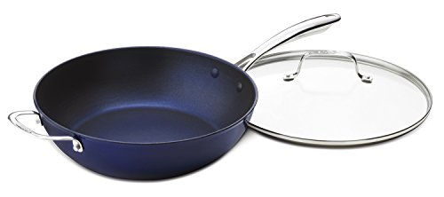 Cuisinart CIL345-30BB CastLite Non-Stick Cast Iron Chef's Pan with helper and Cover, 4.5-Quart, Blue on Blue