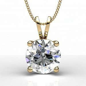 Diamond Impressions DI3007631 Certified 0.9 Ct. 14k Yellow Gold Diamond Solitaire Pendant F I2
