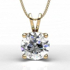 Diamond Impressions DI3007216 Certified 0.4 Ct. 14k Yellow Gold Diamond Solitaire Pendant F VS2