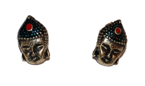 Vintage Styple Antique Bronze Buddha Head Stud Earrings (Supplied in a Gift Pouch) Unique Jewellery
