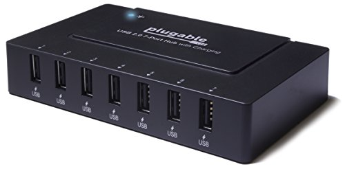 Plugable USB 2.0 7-Port High Speed Hub with 60W Power Adapter and BC 1.2 Charging Support for Android, Apple iOS, and Windows Devices, charges Apple iPhone (5s, 5c, 5, 4s, 4), iPad (Air, Mini, Retina), iPod, Samsung Galaxy S Tab Note, Google Nexus, Motorola Droid, HTC, Nokia, and More.