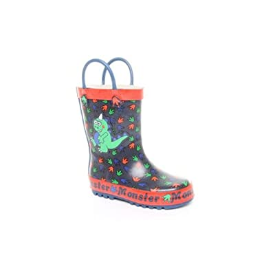 Wellies Boys Monster Wellington Boot Blue Red