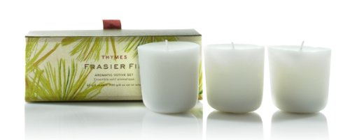 Thymes  Aromatic Votive Candles, Set of 3, Frasier Fir