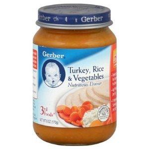 Gerber 3rd Baby Food - Turkey Rice Vegetables Dinner 6 oz (Pack of 4)