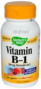 Vitamin B-1, 100 mg Thiamin HCl, 100 Capsules by Nature's Way