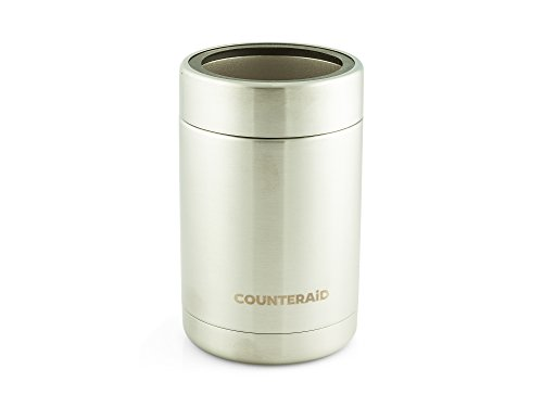 Beer Can Cooler Koozie - Stainless Steel 12oz Bottle And Can Holder Chills Drinks For Hours, Vacuum Insulated- - By CounterAid