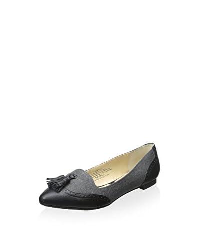 Adrienne Vittadini Women's Bruni Flat  [Grey/Black Herringbone/Smooth]