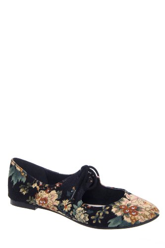 Sahara Floral Lace Up Flat Shoe