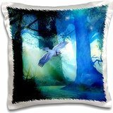 Spiritual Awakenings Fantasy - Blue Jay Forest Magical forest and a beautiful Blue Jay - 16x16 inch Pillow Case