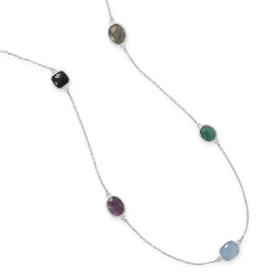 Black Onyx, Amethyst, Blue Chalcedony, Green Onyx, and Labradorite Necklace Sterling Silver