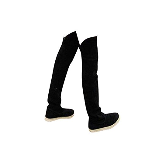jeansian Moda Sopra il Ginocchio Scamosciato Scarpe Stivali Boots Shoes WSB049 Black 39