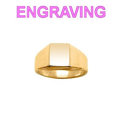 So Chic Jewels - Vermeil - Silver Gilt (18k Gold over 925 Sterling Silver) Rectangle Signet Ring - Your Message Engraved Free