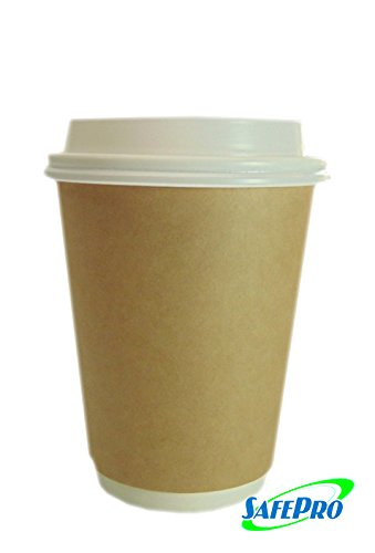 SafePro (Set of 50) 8 oz ECO Kraft Paper Hot Coffee or Tea Cups 8 ounces with Cappuccino Lids (Cappuccino Cups 8 Oz compare prices)