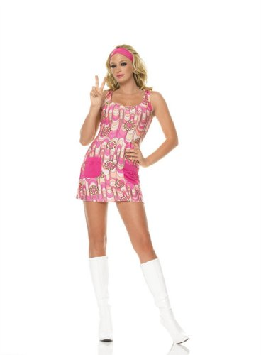Sexy 2Pc Go-Go Retro Hippy Flower Power Girl Halloween Costume