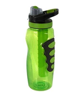 Cool Gear Tritan 32 Oz Avenger Ez-Freeze Water Bottle With Yukon Chugger Cap And Clip. Non-Toxic Gel Filled Freezer Stick, Bpa, Pvc, Phthalates Free (Green)