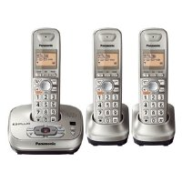 Panasonic KX-TG4023N DECT 6.0 PLUS Expandable Digital Cordless Phone with Answering System, Champagne Gold, 3 Handsets (Silver)
